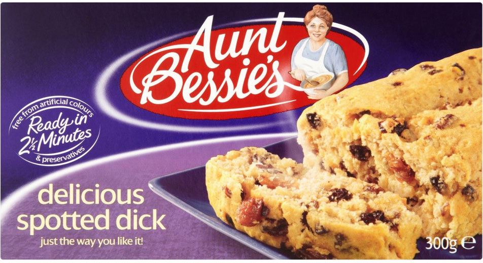 In England, you could be just 2.5 minutes away from Aunt Bessie's delicious spotted dick. The perfect pairing to your Toad in the Hole.